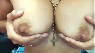Milf squeezes milk from lactating tits and rubs bush