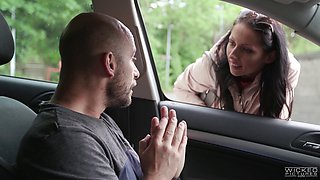 Skinny hooker July gets picked up and fucked with a monster rod