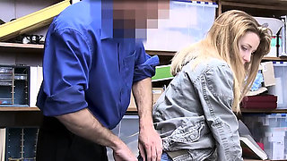 Blonde fucked by a security guard at the back office
