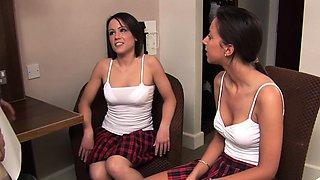British CFNM schoolgirls sharing dick