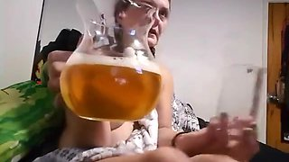 Toilet Princess drinks two glasses of Daddy's Fresh Piss from a pitcher