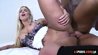Stunning Portuguese maid has to please her boss big cock