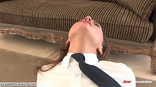 Young schoolgirl Tori Black gets punished by her strict father