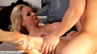 Son fucks his lustful mommy Julia Ann with big boobs by the pool