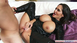 Brunette mommy in latex Ava Addams fucks an horny guy