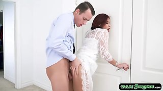 Busty bride stepmom throats and fucked by her stepsons cock