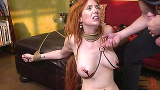 busty redhead gets punished and face fucked