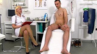 Sexy Blonde Nurse Jerking Big Cock