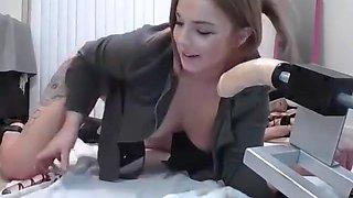 Girl rides monster lubed dildo machine