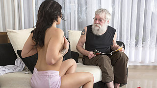 Old Young Porn Sexy Teen Fucked by old man on the couch