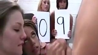 Coed whores sucking on dick getting blasted with jizz
