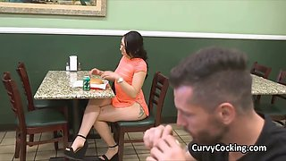 Pawg beauty blows cock in public toilet