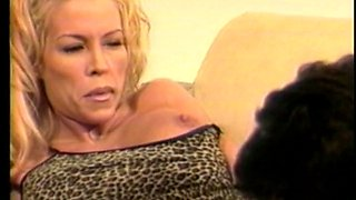 Large titties golden-haired team-fucked on the bed