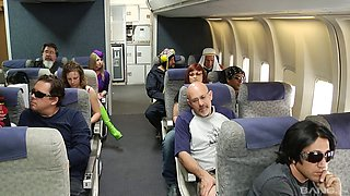 Very nice flight attendants have a threesome with a passanger