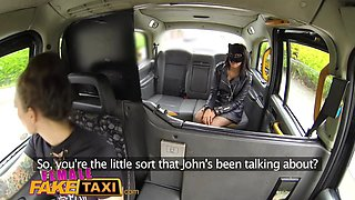Female Fake Taxi Masked horny minx in slutty fishnets cheats