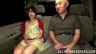 hot asian slut blows an old guy in a car