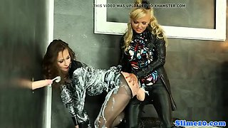 Glamour euro dominated by girl and gloryhole