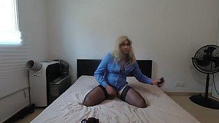 Blue shirt crossdressing