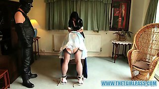Naughty TGirl maids get bondage spanking punishment after caught playing together by master