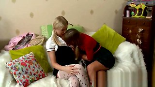 Sexy Blonde Lesbians Kissing And Touching Their Boobs!