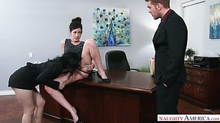 Jennifer White needs a pay rise so she arranges a threesome for her boss