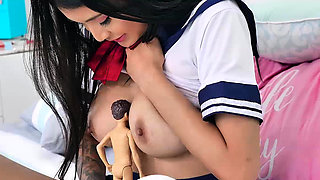 Brenna Sparks likes to play pretend with her favorite doll