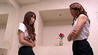 Japanese cutie gets her pussy fingered and toyed in lesbian clip