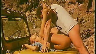 Lascivious and playful German girls boned in the truck outdoors