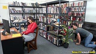 Skinny brunette girl Kelsi Monroe gets fucked in the library