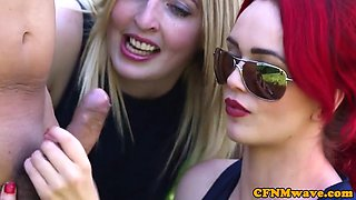 British femdoms demand dick in cfnm group