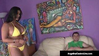 Hot curvy cuban angelina castro rides a lucky hard cock!
