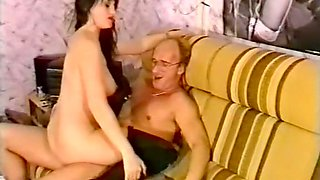 Sizzling hot and busty German schluken rides on a dick of an ugly freak