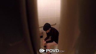 POVD Dirty bathroom fuck with masturbating Allora Ashlyn