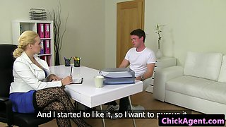 Hugetits milf screwed from behind at casting