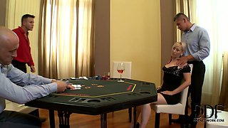 Horny guys seduce a single woman in a poker club
