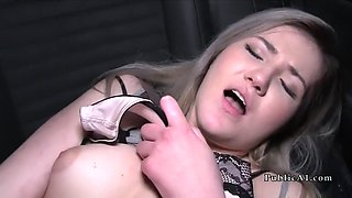 Blonde Euro babe fucks stranger in his car