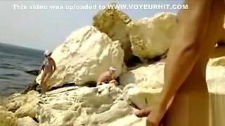 Hard cock exposed to bikini girls at the beach