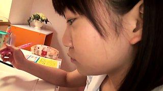 Japanese teen sucking cock before cum swallow