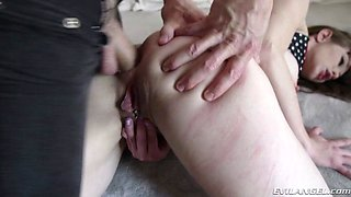 Hot amateur brunette gets her natural tits creamed with jizz