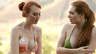 Redhead stepmom pussylicking with busty teen
