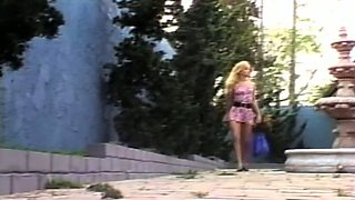 Dirty and sassy blonde bimbos by the pool getting in hardcore lesbian action