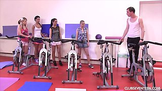 Horny fitness instructor fucks sex-appeal sport teens at the gym