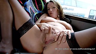 Horny MILF from internet masturbating in the bus