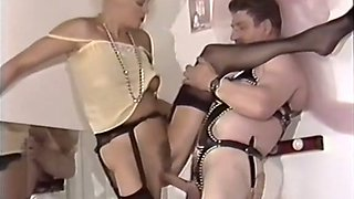 Two hot white chicks sharing one chubby mature sex slave