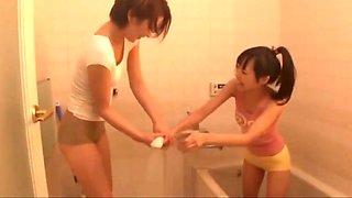 Asian school girl seduces helpless house mom 2