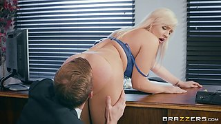 kylie page lets her boss rip her pantyhose and eat her slit