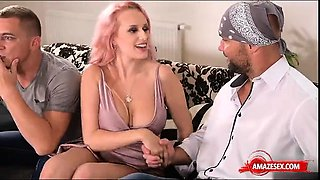 Big tits pornstar threesome and cum in mouth