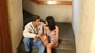 Exquisite lean white babe getting assfucked on the stairs