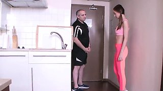 Natural schoolgirl gets tempted and plowed by her senior men