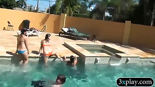 three teen coeds show off ass and groupsex in the pool